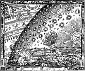 Flammarions Holzstich Wanderer am Weltenrand